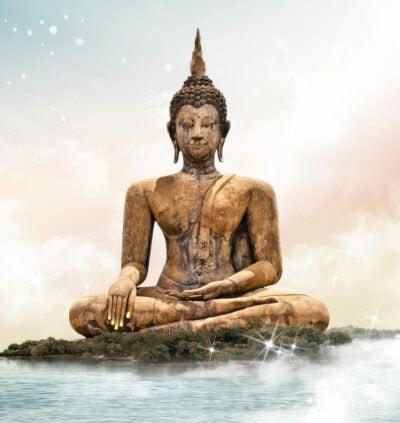Buddha macht eine Meditation im Lotussitz